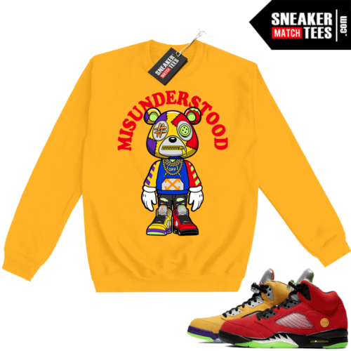 What the 5s Sweatshirt Crewneck Yellow Misunderstood Bear Toon