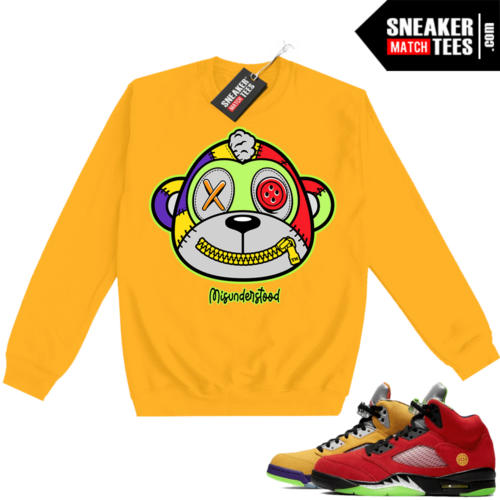 What the 5s Sweatshirt Crewneck Yellow Misunderstood Monkey