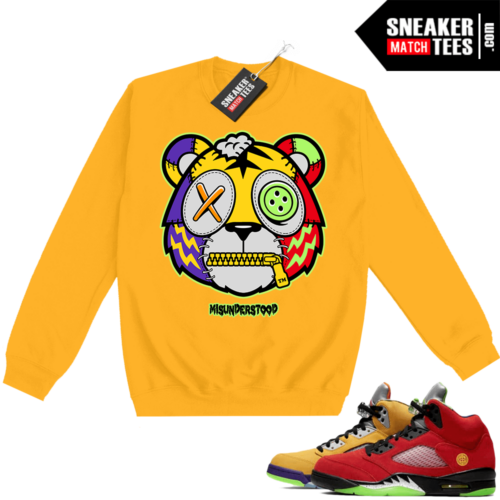 What the 5s Sweatshirt Crewneck Yellow Misunderstood Tiger