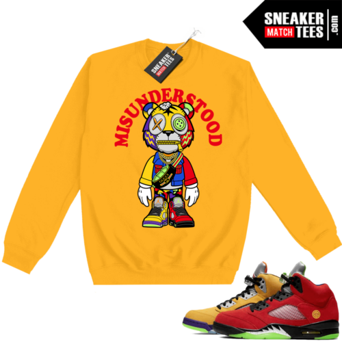 What the 5s Sweatshirt Crewneck Yellow Misunderstood Tiger Toon