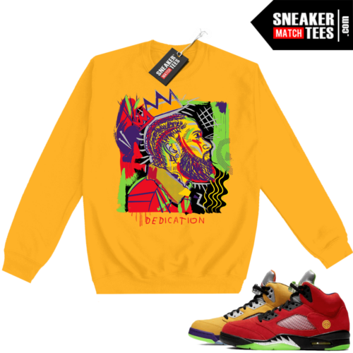 What the 5s Sweatshirt Crewneck Yellow Nipsey Basquiat