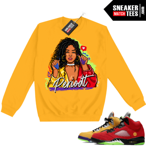 What the 5s Sweatshirt Crewneck Yellow PERIODT