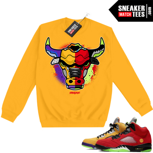 What the 5s Sweatshirt Crewneck Yellow Rare Air Bull