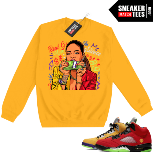What the 5s Sweatshirt Crewneck Yellow Real Gs Move In Silence
