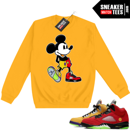 What the 5s Sweatshirt Crewneck Yellow Sneakerhead Mickey