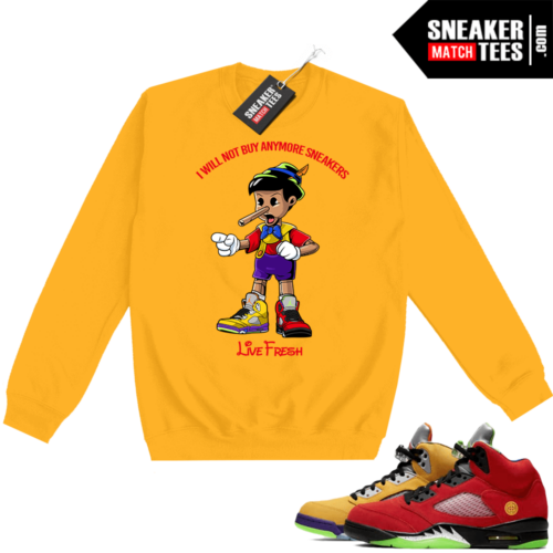 What the 5s Sweatshirt Crewneck Yellow Sneakerhead Pinocchio