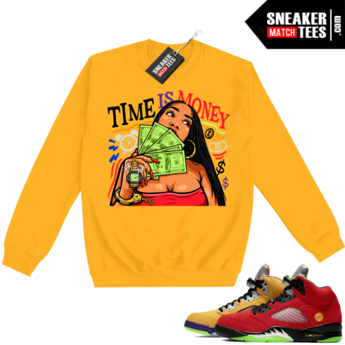 What the 5s Sweatshirt Crewneck Yellow Time Is Money