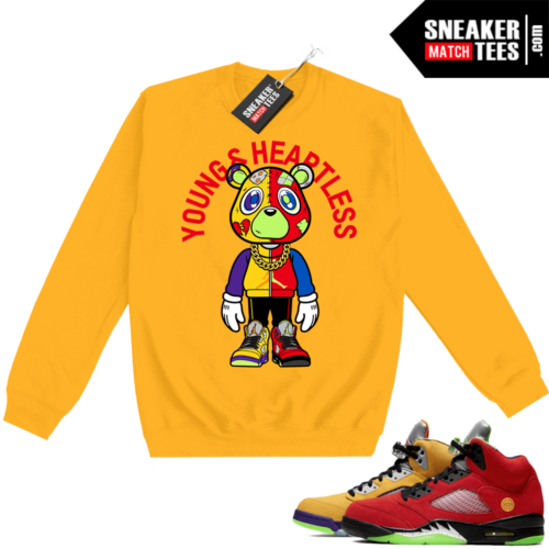 What the 5s Sweatshirt Crewneck Yellow Young & Heartless Bear Toon
