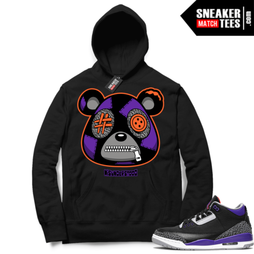 Court Purple 3s Sneaker Match Hoodie Black Misunderstood Bear