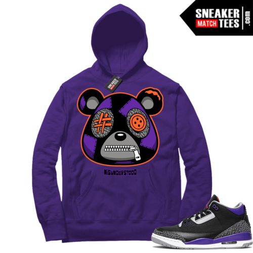 Court Purple 3s Sneaker Match Hoodie Purple Misunderstood Bear