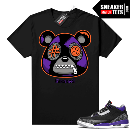Court Purple 3s Sneaker Match Tees Black Misunderstood Bear