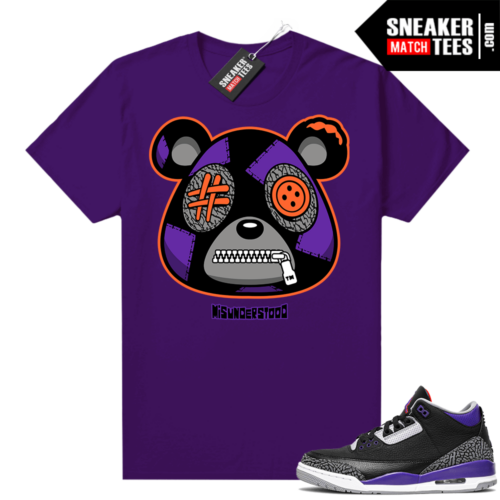 Court Purple 3s Sneaker Match Tees Purple Misunderstood Bear