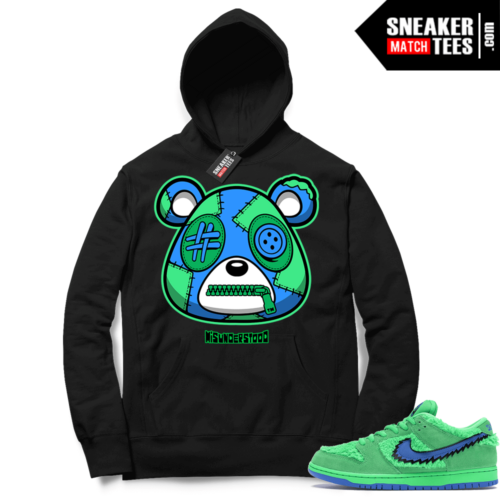 Grateful Dead Bear Green Nike SB Dunk Sneaker Match Hoodie Black Misunderstood Bear