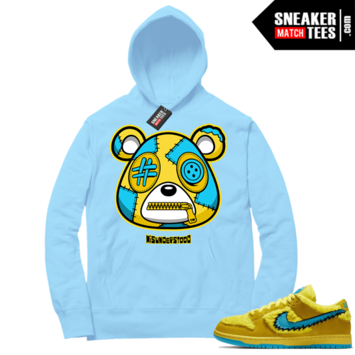 Grateful Dead Bear Yellow Nike SB Dunk Sneaker Match Hoodie Baby Blue Misunderstood Bear