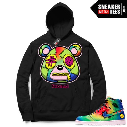 J Balvin 1s Sneaker Match Hoodie Black Misunderstood Bear