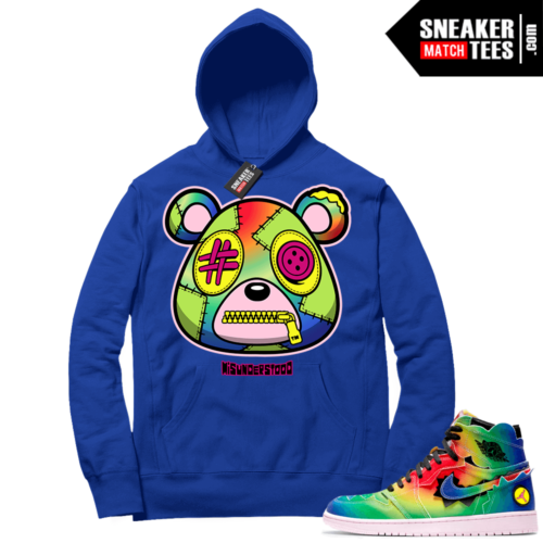 J Balvin 1s Sneaker Match Hoodie Royal Misunderstood Bear