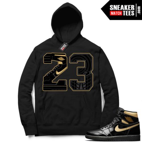 Jordan 1 Black Gold Metallic Sneaker Match Hoodie Black 23