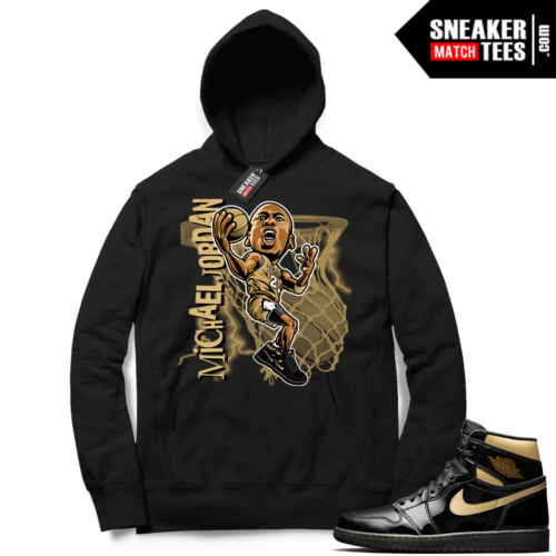 Jordan 1 Black Gold Metallic Sneaker Match Hoodie Black MJ Toon