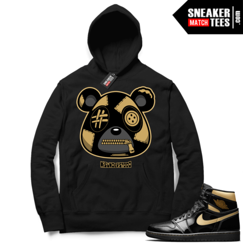 Jordan 1 Black Gold Metallic Sneaker Match Hoodie Black Misunderstood Bear