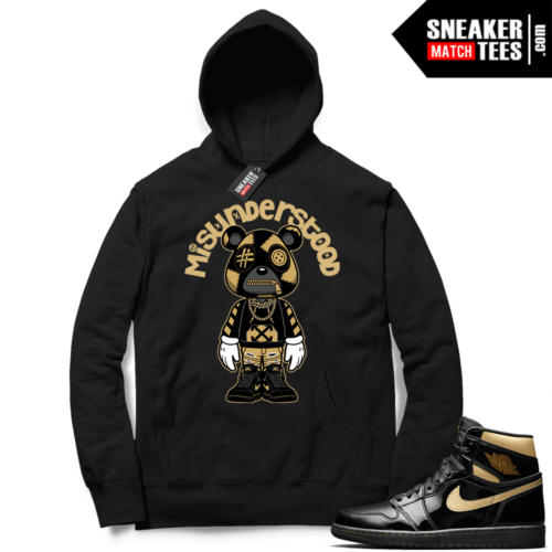 Jordan 1 Black Gold Metallic Sneaker Match Hoodie Black Misunderstood Bear Toon
