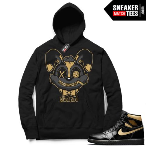 Jordan 1 Black Gold Metallic Sneaker Match Hoodie Black Misunderstood Bunny