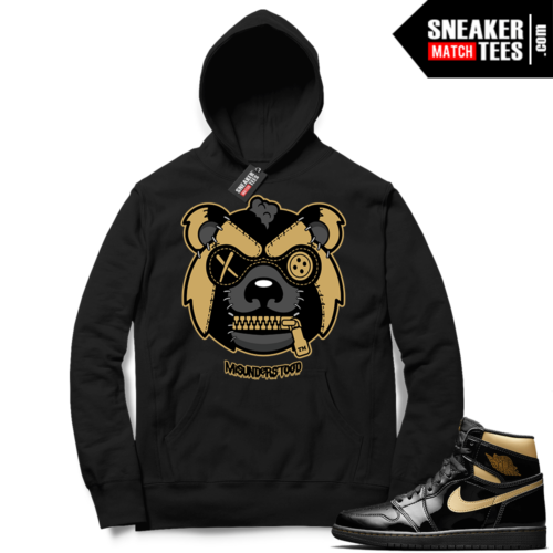Jordan 1 Black Gold Metallic Sneaker Match Hoodie Black Misunderstood Grizzly