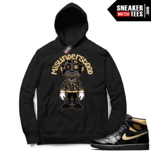 Jordan 1 Black Gold Metallic Sneaker Match Hoodie Black Misunderstood Monkey Toon