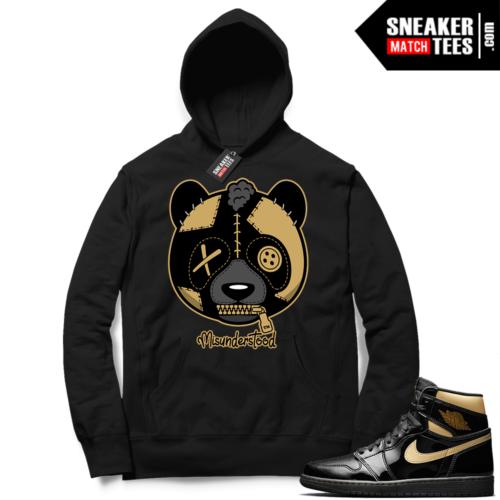Jordan 1 Black Gold Metallic Sneaker Match Hoodie Black Misunderstood Panda