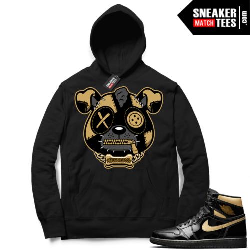 Jordan 1 Black Gold Metallic Sneaker Match Hoodie Black Misunderstood Puppy