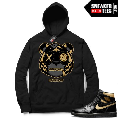 Jordan 1 Black Gold Metallic Sneaker Match Hoodie Black Misunderstood Tiger