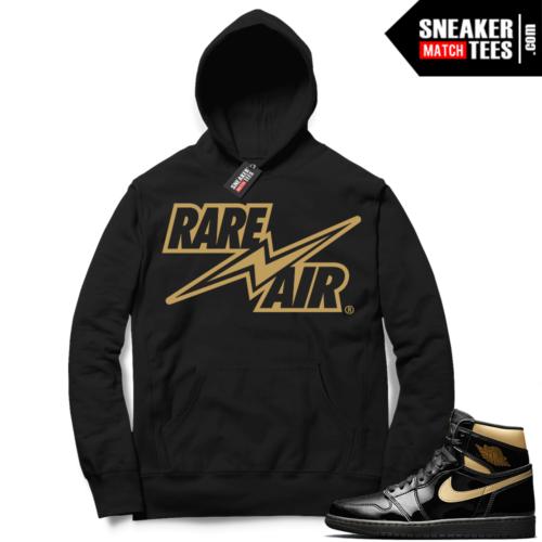 Jordan 1 Black Gold Metallic Sneaker Match Hoodie Black Rare Air Bolt