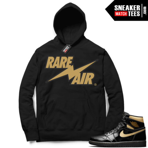 Jordan 1 Black Gold Metallic Sneaker Match Hoodie Black Rare Air Bolt V2