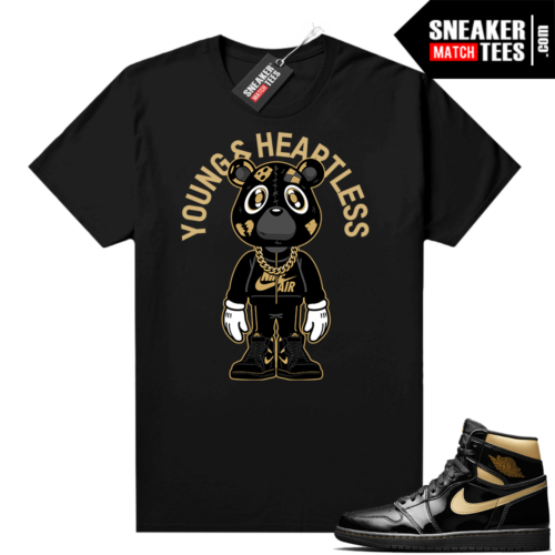 Jordan 1 Black Gold Metallic Sneaker Match Shirt Heartless Bear Toon