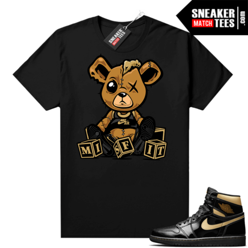 Jordan 1 Black Gold Metallic Sneaker Match Shirt Misfit Teddy