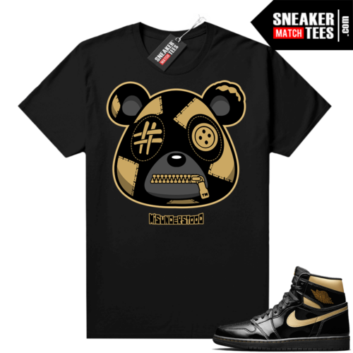 Jordan 1 Black Gold Metallic Sneaker Match Shirt Misunderstood Bear