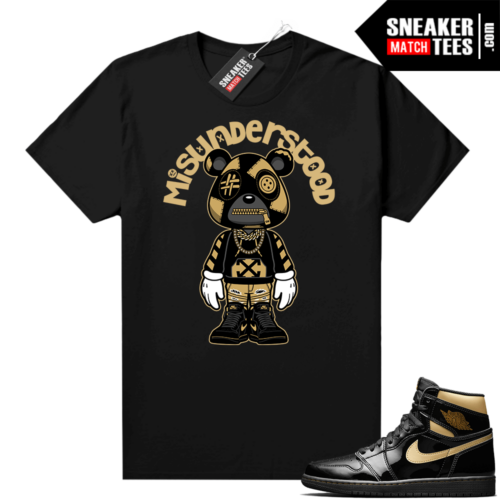 Jordan 1 Black Gold Metallic Sneaker Match Shirt Misunderstood Bear Toon
