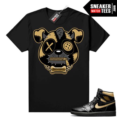 Jordan 1 Black Gold Metallic Sneaker Match Shirt Misunderstood Puppy