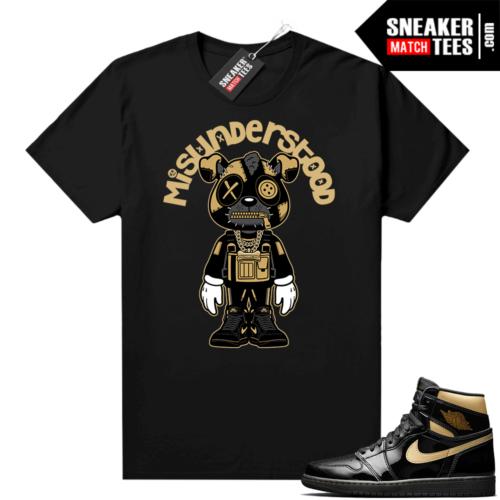 Jordan 1 Black Gold Metallic Sneaker Match Shirt Misunderstood Puppy Toon