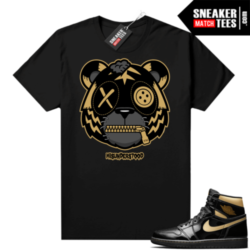 Jordan 1 Black Gold Metallic Sneaker Match Shirt Misunderstood Tiger