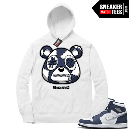 Navy 1s Sneaker Match Hoodie White Misunderstood Bear