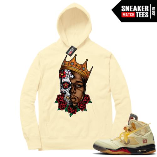 OFF White Jordan 5 Sail Sneaker Hoodies Light Yellow Biggie Sugar Skull