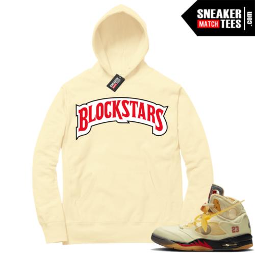 OFF White Jordan 5 Sail Sneaker Hoodies Light Yellow Block Stars