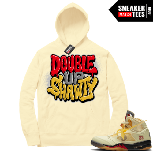 OFF White Jordan 5 Sail Sneaker Hoodies Light Yellow Double Up Shawty Bubble Drip