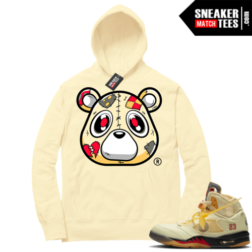 OFF White Jordan 5 Sail Sneaker Hoodies Light Yellow Heartless Bear