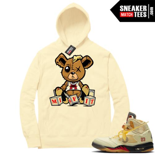 OFF White Jordan 5 Sail Sneaker Hoodies Light Yellow Misfit Teddy