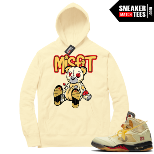OFF White Jordan 5 Sail Sneaker Hoodies Light Yellow Misfit Voodoo Bear