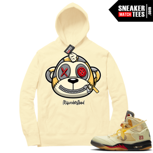 OFF White Jordan 5 Sail Sneaker Hoodies Light Yellow Misunderstood Monkey