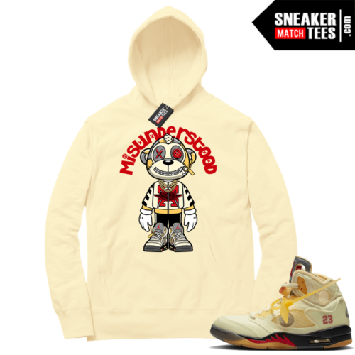 OFF White Jordan 5 Sail Sneaker Hoodies Light Yellow Misunderstood Monkey Toon