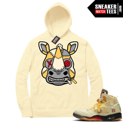 OFF White Jordan 5 Sail Sneaker Hoodies Light Yellow Misunderstood Rhino