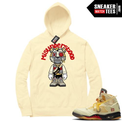 OFF White Jordan 5 Sail Sneaker Hoodies Light Yellow Misunderstood Tiger Toon